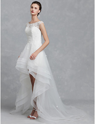 cheap Reception Dresses-A-Line Bateau Neck Asymmetrical Lace / Tulle Made-To-Measure Wedding Dresses with Beading / Appliques by LAN TING BRIDE® / Beautiful Back