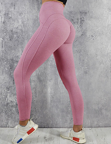 fdf3ec4aea9184 Women's Yoga Pants Sports Solid Color Mesh High Rise Tights Leggings Zumba  Dance Running Activewear Butt Lift Tummy Control Power Flex 4 Way Stretch  ...