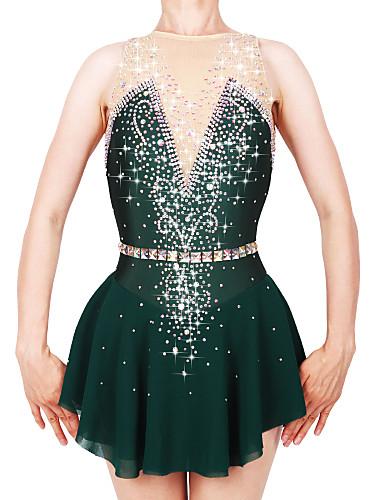 abordables Robe de Patinage-Robe de Patinage Artistique Femme Fille Patinage Robes Vert foncé Spandex Fil élastique Haute élasticité Professionnel Compétition Tenue de Patinage Fait à la main Mode Sans Manches Patinage sur