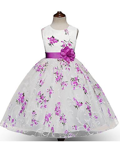 رخيصةأون 5/17-فستان طول الركبة بدون كم طباعة ورد مناسب للحفلات / مناسب للعطلات رياضي Active / حلو للفتيات أطفال