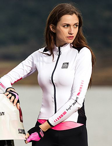 cheap Cycling Jerseys-SANTIC Women's Long Sleeve Cycling Jersey White+Pink Solid Color Bike Jacket Jersey Top Thermal / Warm Quick Dry Ultraviolet Resistant Sports Polyester 100% Polyester Mountain Bike MTB Road Bike