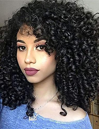 povoljno Perike s ljudskom kosom-Remy kosa Full Lace Lace Front Perika Asimetrična frizura Rihanna stil Brazilska kosa Afro Kinky Kinky Curly Crna Perika 130% 150% 180% Gustoća kose s dječjom kosom Prilagodljiv Jednostavan dressing