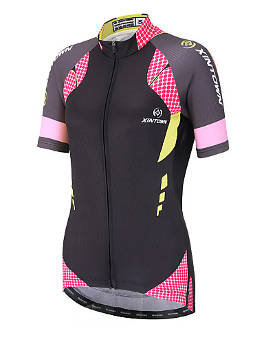 cheap Cycling Clothing-XINTOWN Women's Short Sleeve Cycling Jersey - Black / Pink Polka Dot Plus Size Bike Top Breathable Quick Dry Back Pocket Sports Terylene Mountain Bike MTB Road Bike Cycling Clothing Apparel