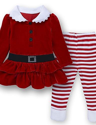 Dijete Djevojčice Osnovni Božić / Dnevno / Praznik Jednobojni / Prugasti uzorak Dugih rukava Regularna Pamuk Komplet odjeće Red / Dijete koje je tek prohodalo