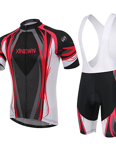 cheap Cycling Jersey & Shorts / Pants Sets-XINTOWN Men's / Women's Short Sleeve Cycling Jersey with Bib Shorts - Red / Blue Plus Size Bike Padded Shorts / Chamois / Clothing Suit, Breathable, 3D Pad Curve / High Elasticity