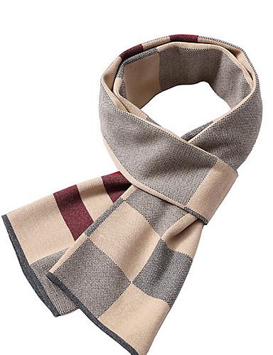 Недорогие Мужские шарфы-Муж. Классический Прямоугольная - Плиссировка Контрастных цветов