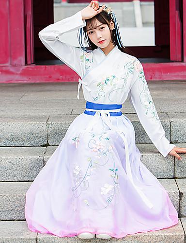 hesapli Dans kostümleri-Dans kostümleri Hanfu Kadın's Eğitim / Performans Pamuklu / Polyester / Şifon Tema / Baskı Uzun Kollu Yüksek Etekler / Palto