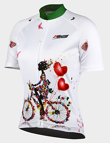 1a7673d6245 21Grams Women's Short Sleeve Cycling Jersey - White Floral / Botanical Bike  Jersey Top, Breathable Quick Dry Ultraviolet Resistant 100% Polyester /  Stretchy ...