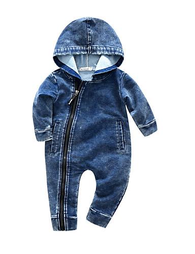 赤ちゃん 男の子 活発的 日常 ソリッド 長袖 オーバーオール&ジャンプスーツ ブルー