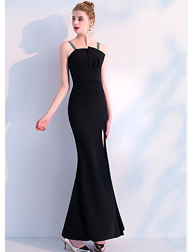 5bb17b8d8ac cheap Evening Dresses-Mermaid   Trumpet Spaghetti Strap Floor Length  Stretch Satin Formal Evening Dress
