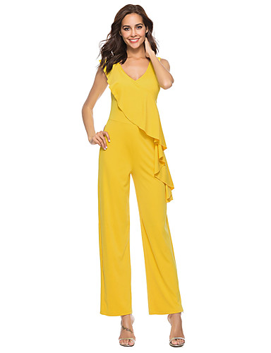 fce026ebc9ab Women s Daily Street chic Deep V Red Yellow Army Green Wide Leg Jumpsuit