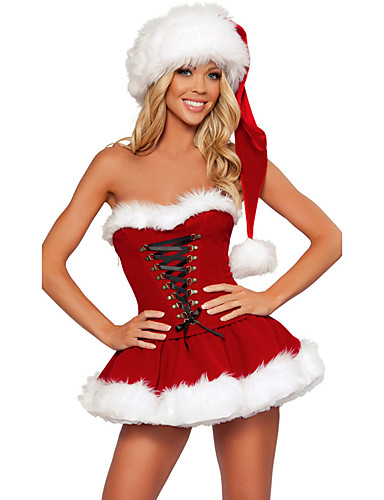 32eaa8e023c60 Mrs.Claus Costume Santa Clothes Women's Christmas Festival / Holiday  Polyster Red Carnival Costumes Solid Colored Holiday Christmas