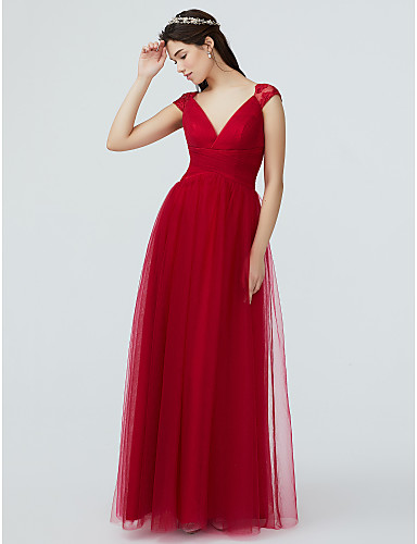 5ade1b87f98 A-Line V Neck Floor Length Lace   Tulle Bridesmaid Dress with Lace   Pleats