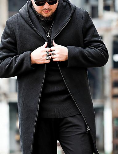 Muškarci Dnevno Osnovni Veći konfekcijski brojevi Dug Kaput, Jednobojni Ruska kragna Dugih rukava Vuna / Pamuk Crn
