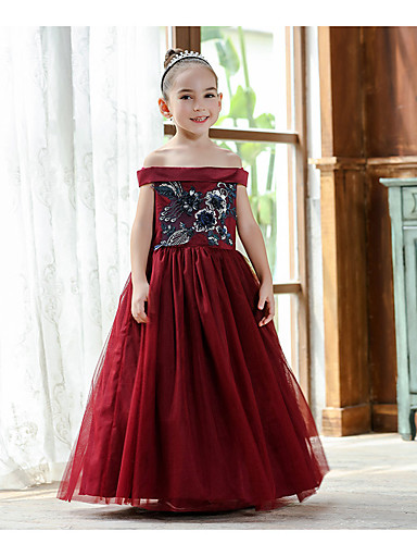 8ab4401d996 Princess Ankle Length   Long Length Flower Girl Dress - Cotton   Polyester    Lace Short Sleeve Off Shoulder with Appliques   Embroidery   Trim by LAN  TING ...