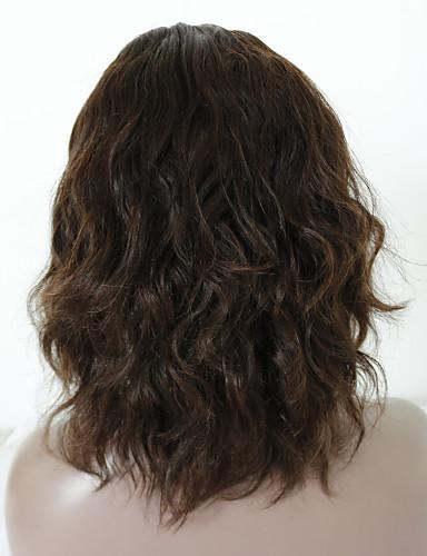 povoljno Perike s ljudskom kosom-Virgin kosa Remy kosa Full Lace Perika Srednji dio Stražnji dio Rihanna stil Brazilska kosa Wavy Tijelo Wave Tamnosmeđa Perika 130% Gustoća kose s dječjom kosom Nježno Prirodno Prirodna linija za
