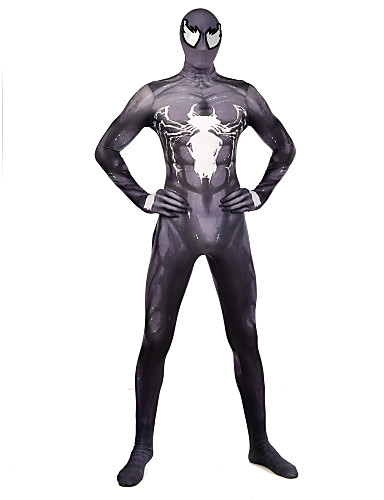 Zentai odijela Odijelo za kožu Puno radno odijelo uz tijelo Super Heroes Dječji Odrasli Lycra Cosplay Nošnje Muškarci i žene Crn Print Božić Halloween New Year