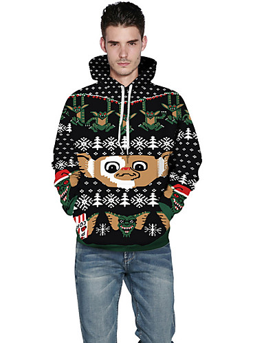 voordelige Uitverkoop-Heren Kerstmis Street chic Lange mouw Trui met capuchon Cartoon Capuchon