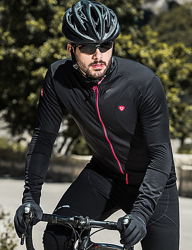 SANTIC Men s Cycling Jersey Bike Jersey Top Thermal   Warm Windproof Fleece  Lining Sports Solid Colored Elastane Black Mountain Bike MTB Road Bike  Cycling ... 6dbe105ab
