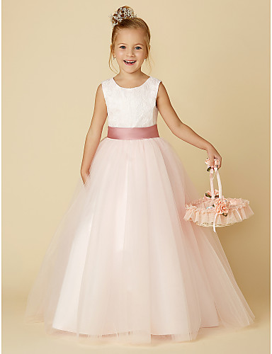 ff331c3a6044 Princess Floor Length Flower Girl Dress - Satin / Tulle Sleeveless Jewel  Neck with Appliques / Lace by LAN TING BRIDE®