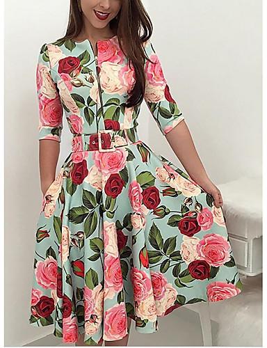 billige Kjoler-Dame Fest Ferie Ut på byen Vintage 1950-tallet Elegant A-linje Kjole - Blomstret, Trykt mønster Knelang Rose / Sexy