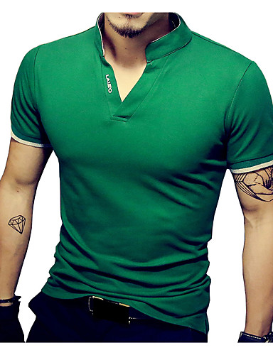 cheap Men's Tees & Tank Tops-Men's Sports Basic Plus Size Cotton Slim T-shirt - Solid Colored Stand / Short Sleeve