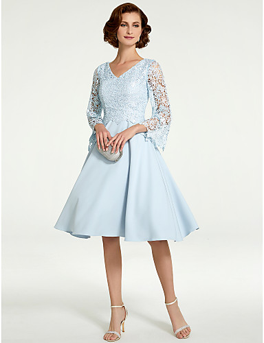 A-Line V Neck Knee Length Chiffon   Lace Mother of the Bride Dress with  Lace by LAN TING BRIDE® 114de4e95