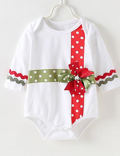 赤ちゃん 女の子 活発的 水玉 / 波点 長袖 ボディスーツ ホワイト / 幼児