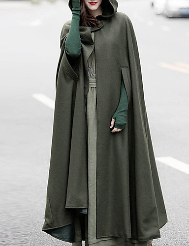 8a2e4f59e Women's Daily Basic Long Cloak / Capes, Solid Colored Fantastic Beasts  Hooded Long Sleeve Wool Hooded Green / Black / Gray M / L / XL