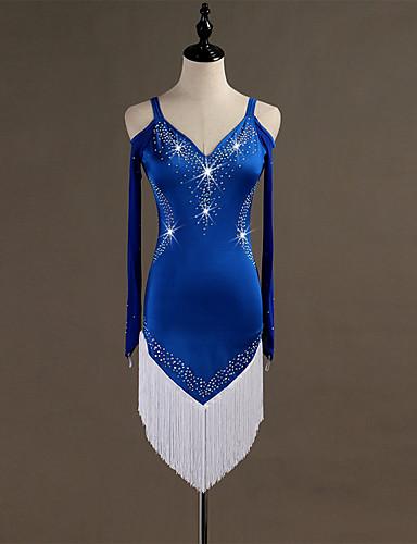 Balli latino-americani Vestiti Per donna Addestramento Elastene   Tulle  Cristalli   Strass Manica lunga Alto Abito e34ac642efe