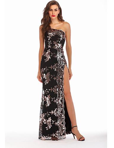 voordelige Maxi-jurken-Dames Feest Elegant Schede Jurk Eén-schouder Maxi / Sexy