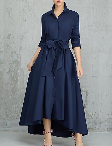 voordelige Maxi-jurken-Dames Werk Street chic Slank Schede Jurk - Effen Overhemdkraag Maxi Hoge taille / Hoge taille