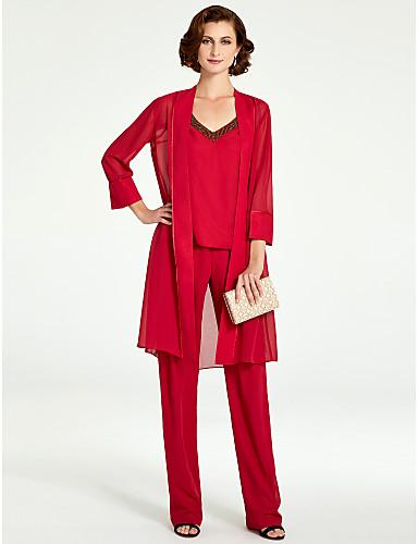 voordelige Wrap Dresses-pantsuit V-hals Tot de grond Chiffon Bruidsmoederjurken met Kralen door LAN TING BRIDE®