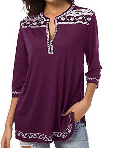 billige Dametopper-Dyp V Store størrelser Skjorte Dame - Ensfarget / Geometrisk Grunnleggende Lilla XXXL