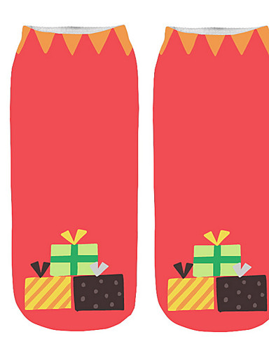 voordelige Kerstwinkel-Dames Medium Sokken - Geometrisch, Print Klaver Wit Blozend Roze Een maat