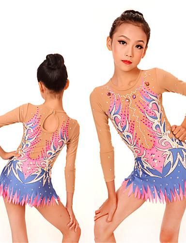 235cf603f22d Rhythmic Gymnastics Leotards / Artistic Gymnastics Leotards Women's / Girls'  Leotard Pink High Elasticity Competition Handmade Print / Shading Long  Sleeve ...