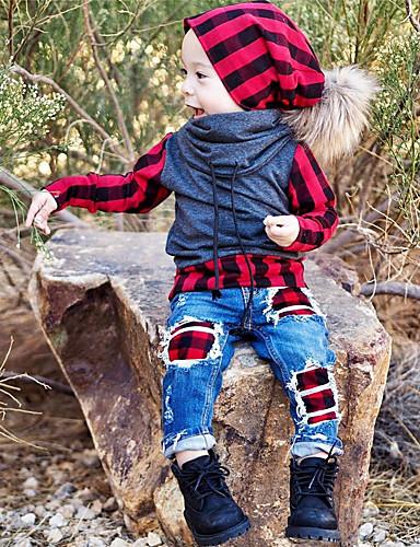 Djeca Dijete koje je tek prohodalo Dječaci Aktivan Osnovni Dnevno Sport Karirani uzorak Kolaž Dugih rukava Regularna Pamuk Komplet odjeće Red