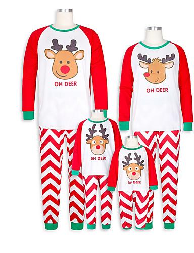 Obiteljski izgled Osnovni Božić Dnevno Geometrijski oblici Dugih rukava Komplet odjeće Red