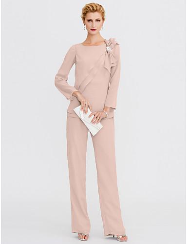 povoljno Popularne haljine za majku mladenke-Pantsuit Ovalni izrez Do poda Šifon Haljina za majku mladenke s Kristalni detalji / Drapirano sa strane po LAN TING BRIDE®