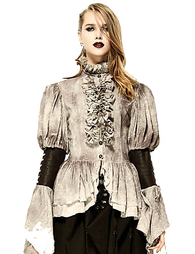 billige Cosplay og kostumer-Vampyr Duchess Vintage Gotisk Lolita Kostume Dame Bluse / Skjorte Festkostume Maskerade N / A Grå Vintage Cosplay Blonde Langærmet Juliet