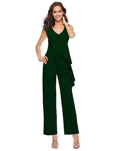 426000a74ee5 Women s Daily Street chic Deep V Red Yellow Army Green Wide Leg Jumpsuit