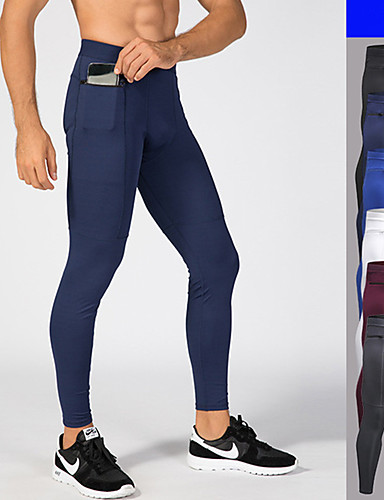 billige Sportsklær-Herre Lomme Tights til jogging sport Helfarge Elastan Tights Leggings Løp Trening Trene Sportsklær Pustende Fukt Wicking Anti-Statisk Nettingtights Elastisk Skinny