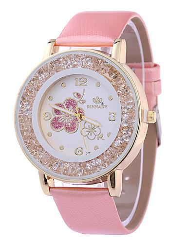 cheap Floral Watches-Women's Wrist Watch Quartz Quilted PU Leather White / Brown / Pink Casual Watch Analog Ladies Flower Sparkle - Purple Brown Pink
