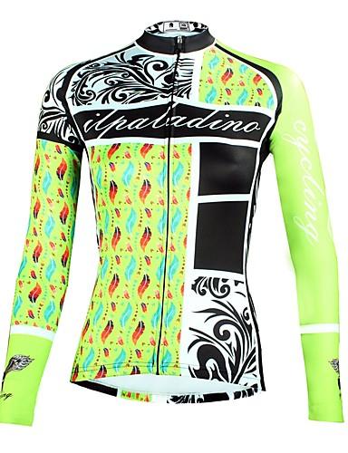 cheap Cycling Clothing-ILPALADINO Women's Long Sleeve Cycling Jersey - Mint Green Floral / Botanical Bike Top Ultraviolet Resistant Sports Winter Elastane Mountain Bike MTB Road Bike Cycling Clothing Apparel