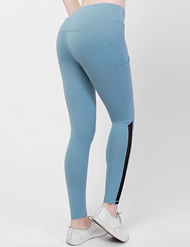 6d2fbcb9d22 YUJIAN Women s Pocket Yoga Pants Pink Light Blue Burgundy Sports Color  Block Mesh High Rise Tights Leggings Zumba Dance Running Activewear  Moisture Wicking ...
