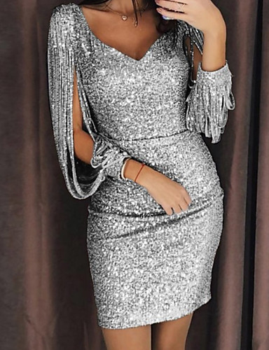 cheap Especially On Halloween-Women's Cocktail Party Sexy Slim Bodycon Dress Sequins V Neck Black Silver Yellow S M L XL