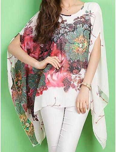 abordables Camisas y Camisetas para Mujer-Mujer Chic de Calle Estampado Blusa De Gran Tamaño Floral Manga Murciélago Negro Tamaño Único / Primavera / Verano