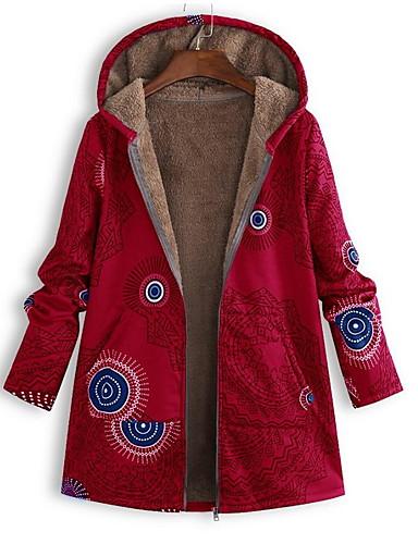 Žene Dnevno Osnovni Jesen zima Veći konfekcijski brojevi Dug Kaput, Geometrijski oblici S kapuljačom Dugih rukava Poliester Djetelina / Crn / Red