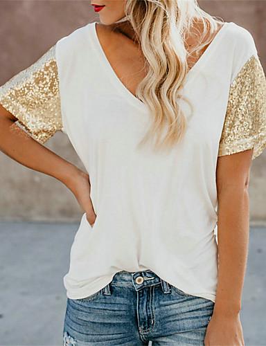 7523f255a9e44 Mujer Chic de Calle Lentejuelas Camiseta Un Color