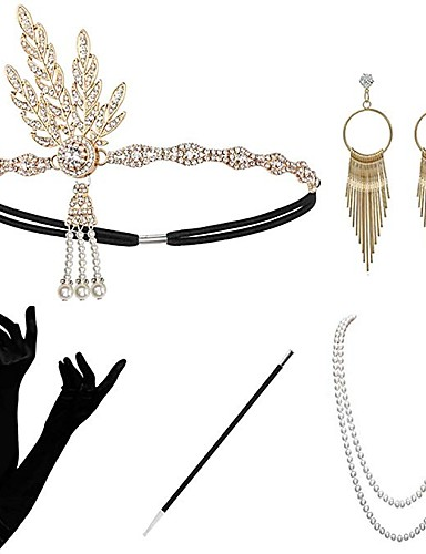 cheap Historical & Vintage Costumes-The Great Gatsby Charleston 1920s The Great Gatsby Roaring 20s Gloves Flapper Headband Costume Accessory Sets Women's Tassel Costume Head Jewelry Earrings Pearl Necklace Golden / Black+Sliver